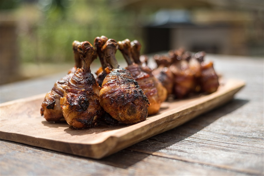 Smoked Bacon Wrapped Chicken Lollipops