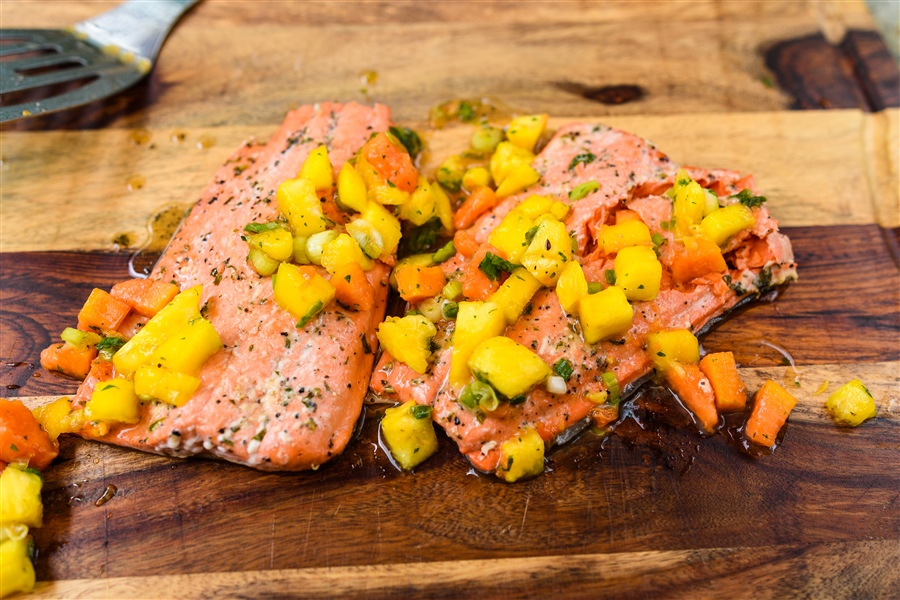 Smoked Salmon Steaks with Citrus Salsa